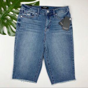 New Nine West Sophia High Rise Bermuda Jean Shorts